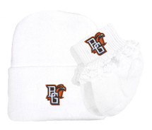 Bowling Green St. Falcons Newborn Baby Knit Cap and Socks with Lace Set