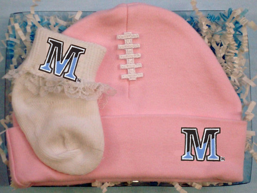 Maine Black Bears Football Cap and Socks with Lace Baby Gift Set