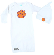 Clemson Tigers Baby Layette Gown and Knotted Cap Set