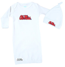 Mississippi Ole Miss Rebels Baby Layette Gown and Knotted Cap Set