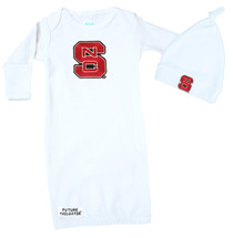 NC State Wolfpack Baby Layette Gown and Knotted Cap Set