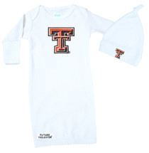 Texas Tech Red Raiders Baby Layette Gown and Knotted Cap Set