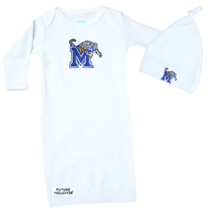 Memphis Tigers Baby Layette Gown and Knotted Cap Set