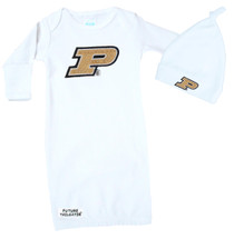Purdue Boilermakers Baby Layette Gown and Knotted Cap Set