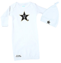 Vanderbilt Commodores Baby Layette Gown and Knotted Cap Set