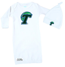 Tulane Green Wave Baby Layette Gown and Knotted Cap Set