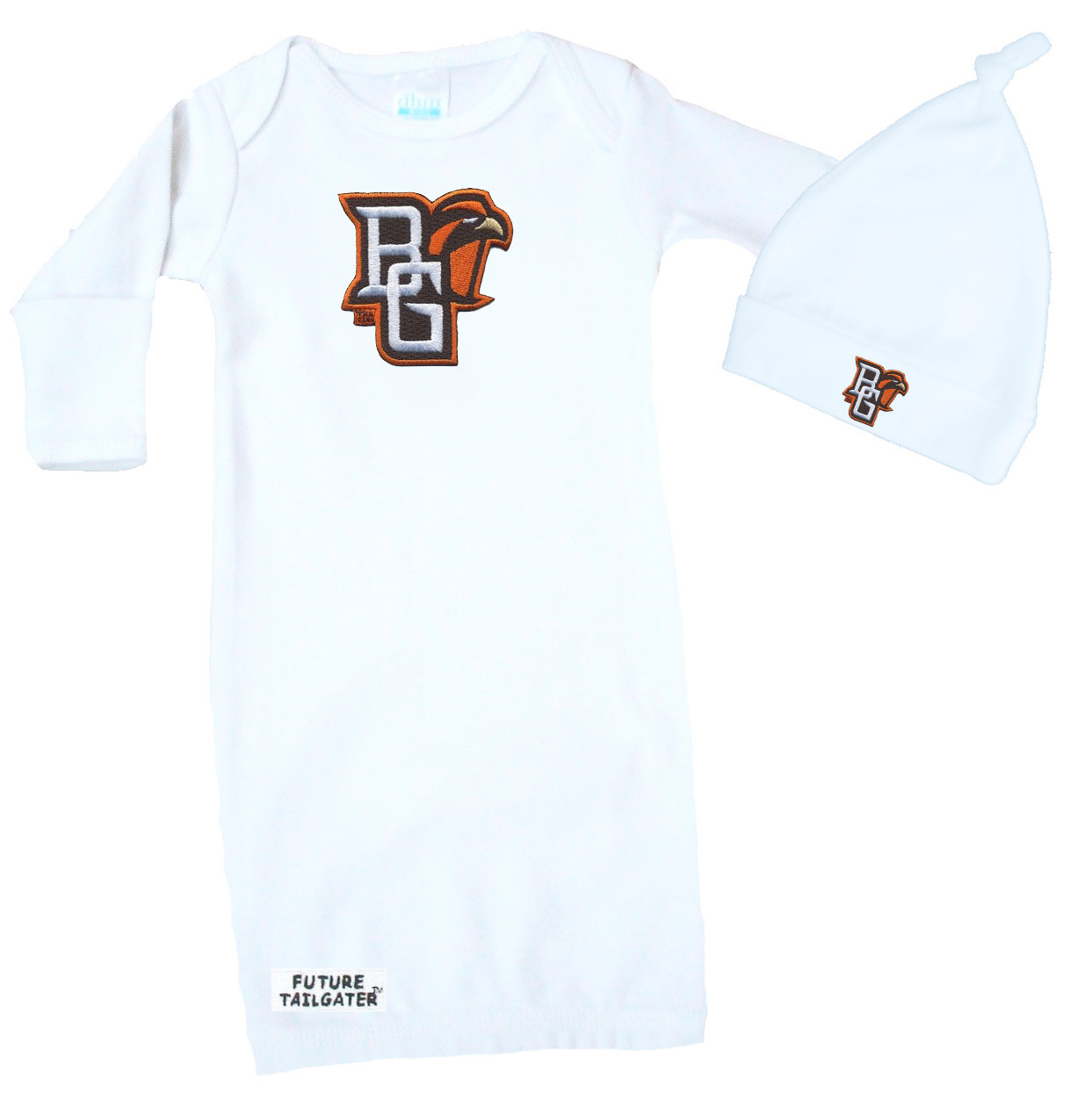huge discount 11108 14f86 Bowling Green St. Falcons Baby Layette Gown and Knotted Cap Set