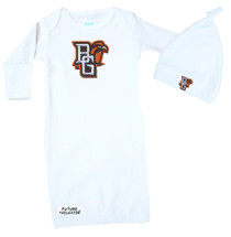 Bowling Green St. Falcons Baby Layette Gown and Knotted Cap Set