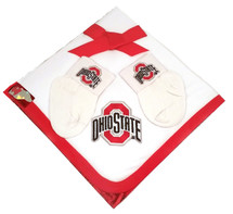 Ohio State Buckeyes Baby Receiving Blanket and Socks Set