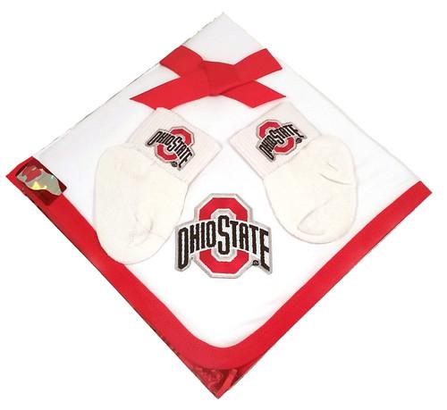 Ohio State Buckeyes Baby Receiving Blanket and Socks Set