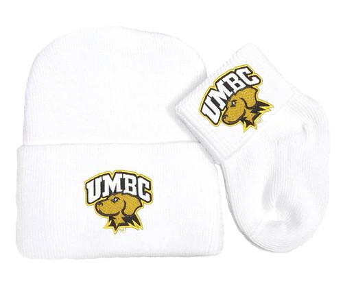 UMBC Retrievers Newborn Baby Knit Cap and Socks Set