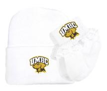 UMBC Retrievers Newborn Knit Cap and Socks with Lace Baby Set