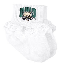 Ohio Bobcats Baby Sock Booties with Lace