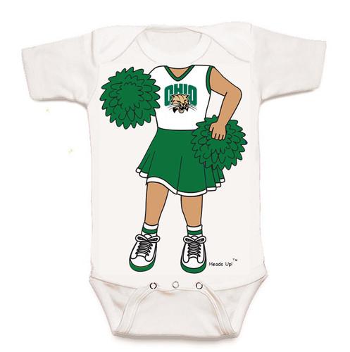 Ohio Bobcats Heads Up! Cheerleader Baby Onesie