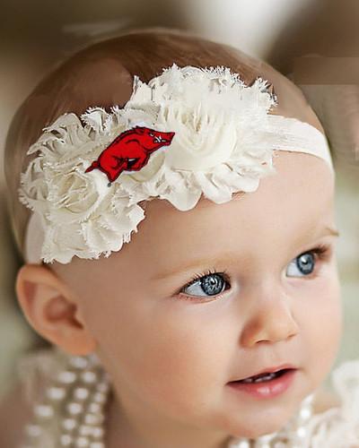 Arkansas Razorbacks Baby/ Toddler Shabby Flower Hair Bow Headband