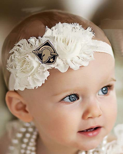 Army Black Knights Baby/ Toddler Shabby Flower Hair Bow Headband
