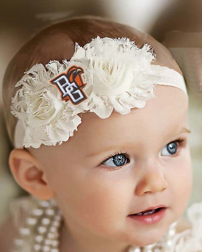 Bowling Green St. Falcons Baby/ Toddler Shabby Flower Hair Bow Headband
