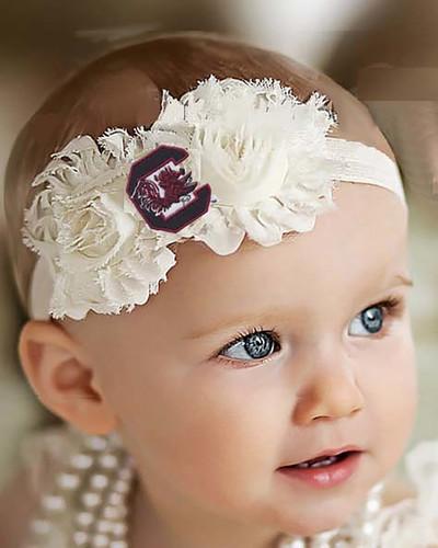 South Carolina Gamecocks Baby/ Toddler Shabby Flower Hair Bow Headband