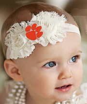 Clemson Tigers Baby/ Toddler Shabby Flower Hair Bow Headband