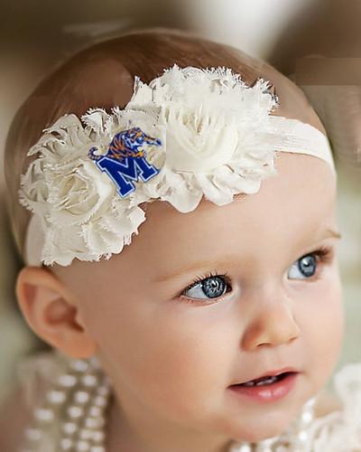Memphis Tigers Baby/ Toddler Shabby Flower Hair Bow Headband