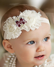 Mississippi State Bulldogs Baby/ Toddler Shabby Flower Hair Bow Headband