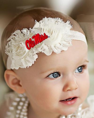 Mississippi Ole Miss Rebels Baby/ Toddler Shabby Flower Hair Bow Headband