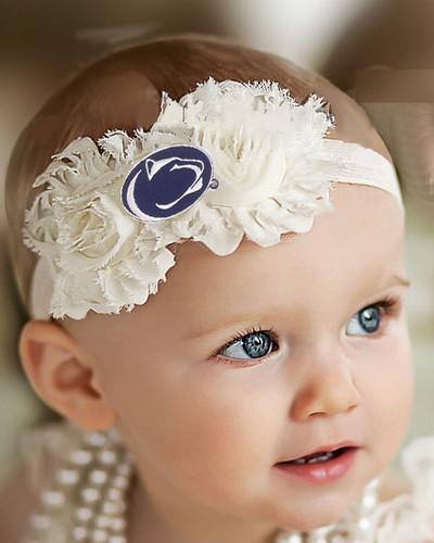 Penn State Nittany Lions Baby/ Toddler Shabby Flower Hair Bow Headband