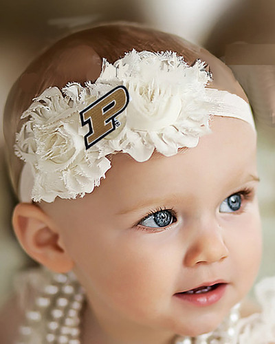 Purdue Boilermakers Baby/ Toddler Shabby Flower Hair Bow Headband