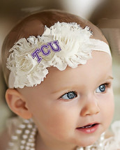 Texas Christian TCU Horned Frogs Baby/ Toddler Shabby Flower Hair Bow Headband