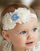 North Carolina Tar Heels Baby/ Toddler Shabby Flower Hair Bow Headband