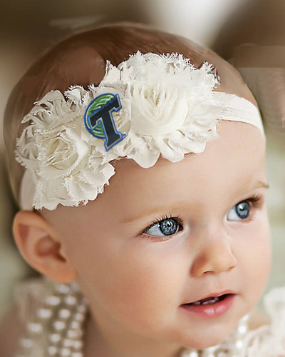 Tulane Green Wave Baby/ Toddler Shabby Flower Hair Bow Headband