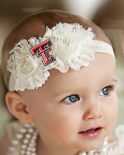 Texas Tech Red Raiders Baby/ Toddler Shabby Flower Hair Bow Headband