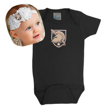 Army Black Knights Baby Bodysuit and Shabby Bow Headband