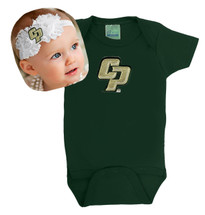Cal Poly Mustangs Baby Onesie and Shabby Flower Headband Set