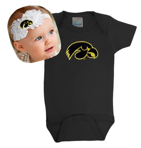 Iowa Hawkeyes Baby Bodysuit and Shabby Bow Headband