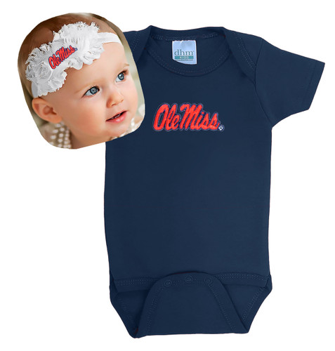 Mississippi Ole Miss Rebels Baby Bodysuit and Shabby Bow Headband