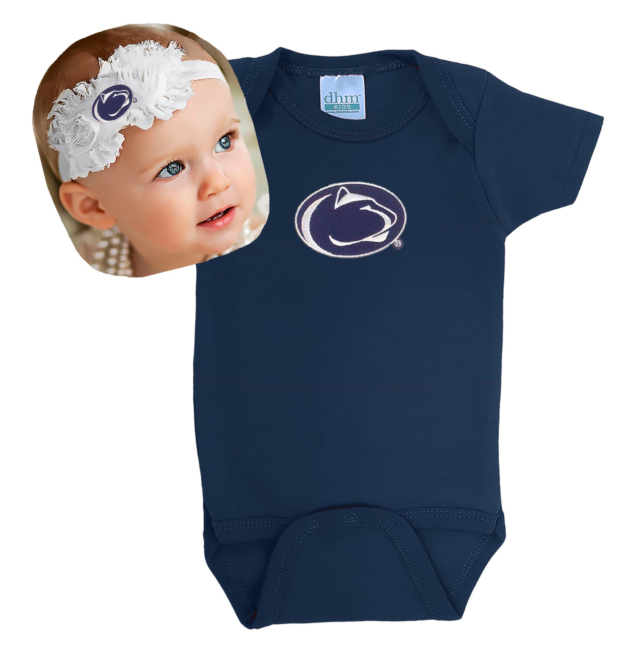 6954dc9e0 Penn State Nittany Lions Baby Bodysuit and Shabby Bow Headband. Loading zoom