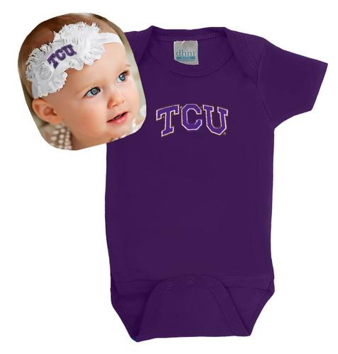 Texas Christian TCU Horned Frogs Baby Onesie and Shabby Bow Headband