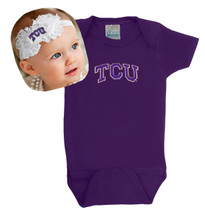 Texas Christian TCU Horned Frogs Baby Onesie and Shabby Bow Headband