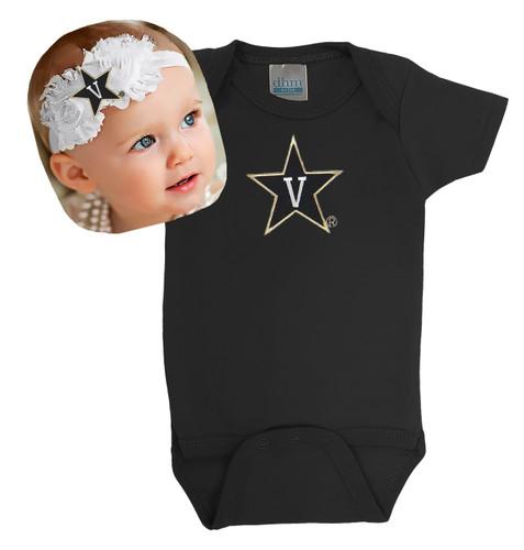 Vanderbilt Commodores Baby Onesie and Shabby Bow Headband