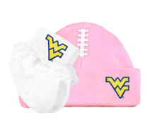 West Virginia Mountaineers Football Cap and Socks with Lace Baby Set
