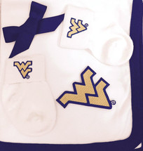 West Virginia Mountaineers Baby Receiving Blanket and Socks Gift Set