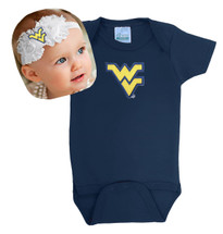 West Virginia Mountaineers Baby Onesie and Shabby Bow Headband