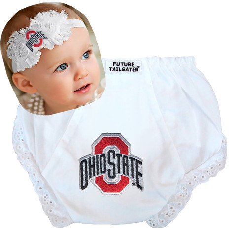 Ohio State Buckeyes Baby Eyelet Diaper Cover and Shabby Flower Headband