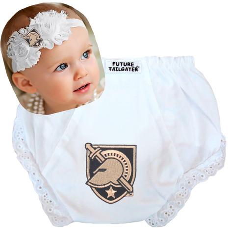 Army Black Knights Baby Eyelet Diaper Cover and Shabby Bow Headband