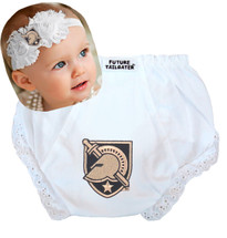 Army Black Knights Baby Eyelet Diaper Cover and Shabby Bow Headband