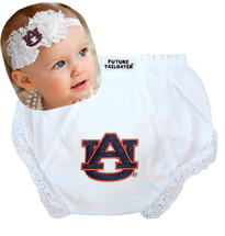 Auburn Tigers Baby Eyelet Diaper Cover and Shabby Bow Headband Set