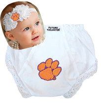 Clemson Tigers Baby Eyelet Diaper Cover and Shabby Bow Headband
