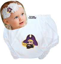 East Carolina Pirates Baby Eyelet Diaper Cover and Shabby Flower Headband