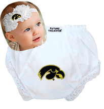 Iowa Hawkeyes Baby Eyelet Diaper Cover and Shabby Bow Headband